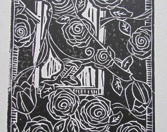 "Color Linocut Fine Art Print: ""Little Bird"""