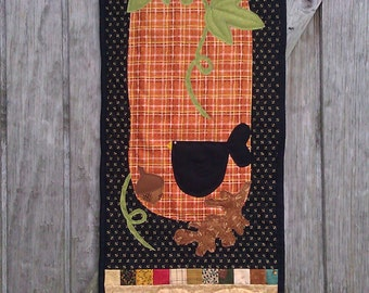 Country Pumpkin Be Thankful Door Banner, country decor, primitive decor, skinny quilt, pumpkin wall hanging, country pumpkin decor