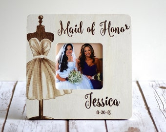 Personalized Maid of Honor Frame Custom Wedding Frame- Bridesmaid gifts- Maid of Honor Gifts
