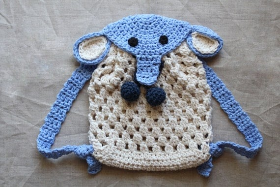 Crochet pattern Crochet Elephant Backpack for babies and