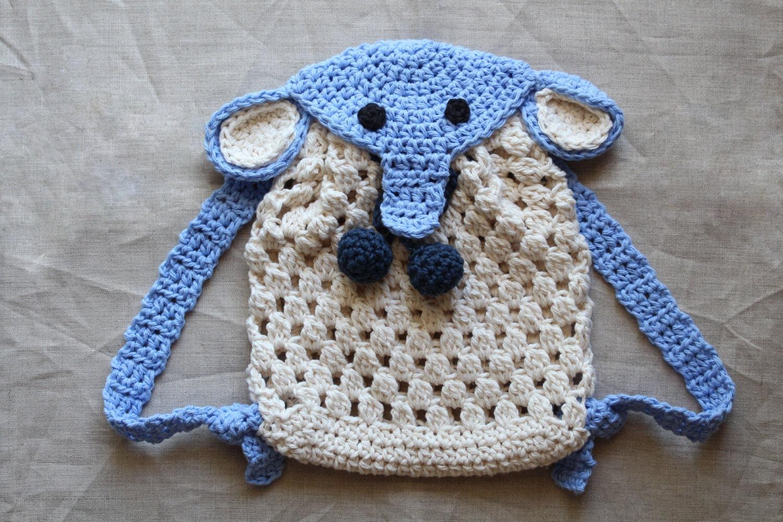 Crochet simple tote bag pattern bicolor bag crochet purse crochet pattern crochet elephant backpack for babies and kids crochet animal backpack pattern bankloansurffo Gallery
