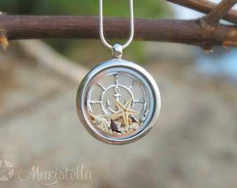 Anchor locket, Anchor necklace, Ship Wheel necklace, Navy necklace, Sailor necklace, Steering Wheel Necklace, Nautical Necklace, Silver helm