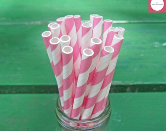 Paper Straws, 50 Pink Straws, Party Straws, Pink and White Straws, Striped Straws, Valentine's, Birthday, Baby Shower, Party Decoration