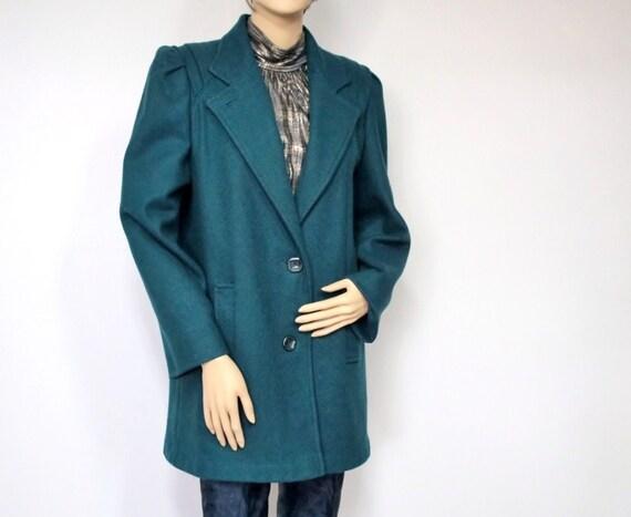 Vintage Jacket Coat Vintage Coat Women's  Pea Jacket Style 1980s Wool Coat Jacket Fall Winter Car Coat Teal Peacock Blue Size 10