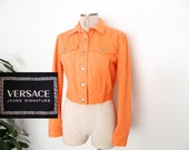 SALE // VERSACE Denim Jacket Orange 90's Womens Button Down Long Sleeve Versace Jeans Made in Italy Small