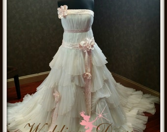 Stunning Ivory and Baby Pink Romantic Wedding Dress READY TO SHIP