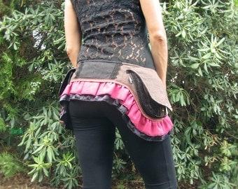 ON SALE-Festival skirt-OOAK-Burning Man-Hip Bag-Belt skirt-Wrap skirt-Ruffle skirt-Fairy-Tribal-Pixie-Gypsy-Steampunk