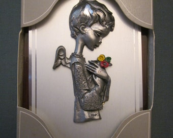 Hand Chiseled Pewter Art - Portrait of Angel Child with Flower Bouquet - Both Wall and Easel Display Options