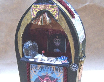 Dollhouse Miniature FORTUNE TELLER Halloween CARNIVAL Booth Witch Gypsy Haunted House