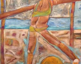 "Have a Ball at the Beach 30""x24""x1.5"" beach scene original acrylic painting"