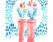 Rainboots - Art Print, Watercolor Illustration, Raindrops, Children's art, Nursery Print, Girly Decor