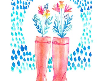 Rainboots - Art Print, Watercolor Illustration, Raindrops, Children's art, Nursery Print, Girly Decor
