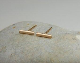Gold Bar Earrings 7 mm Gold Line Earrings 14K Studs Solid Gold Earrings Gold Studs Minimal Earrings
