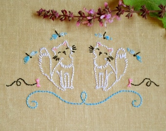 Hand embroidery, embroidery pattern pdf, cat embroidery, pet embroidery by NaiveNeedle