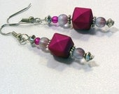 Red-Violet Dangle Earrings - Beaded Drop Earrings, Fashion Jewelry, Nickle-Free Earwires, Handmade in the USA, Ready to Ship