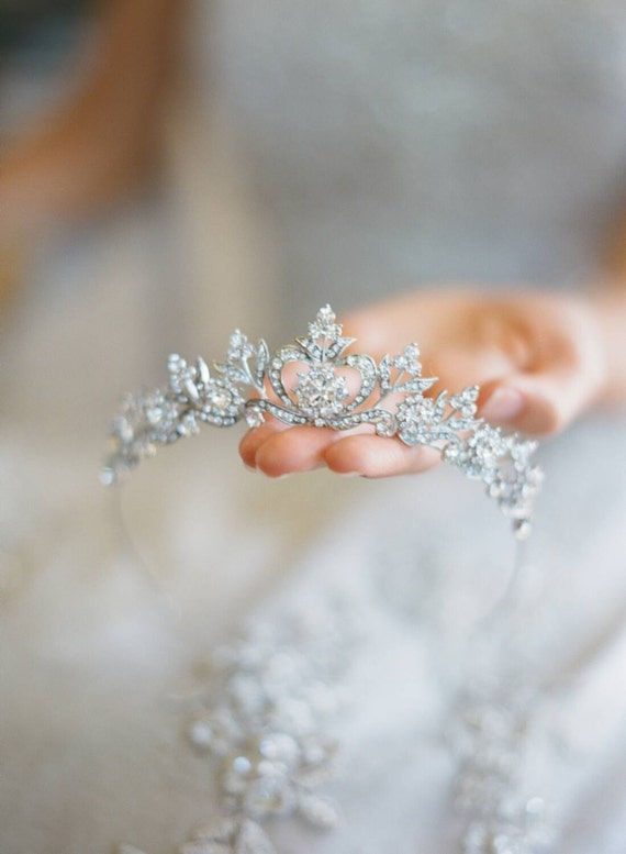 Bridal Tiara Crystal Heart Tiara - DIANA, Swarovski Bridal Tiara, Crystal Wedding Crown, Rhinestone Tiara, Wedding Tiara, Diamante Crown
