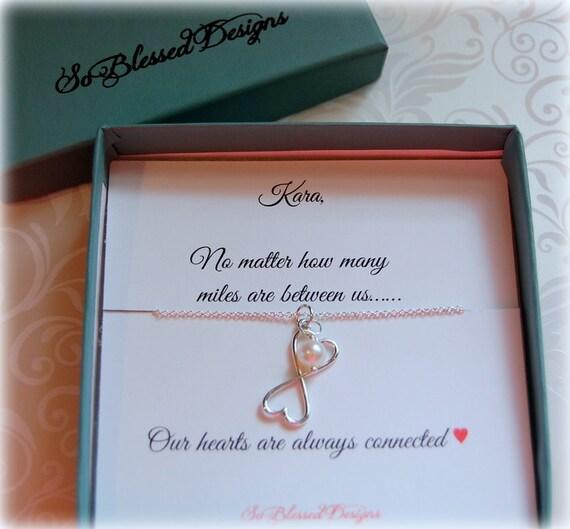 Wedding Gift For Distant Friend : Best friend wedding gift, frienship necklace, miss you necklace, long ...