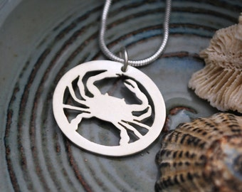 Silver Crab Charm Necklace - Maryland Blue Crab Silhouette Pendant - Simple Nautical Jewelry - Portion of Proceeds to Chesapeake Bay Charity