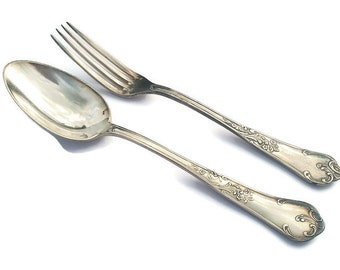 Wiskemann Belgian Silver Plated Spoon and Fork . Floral Design.