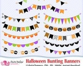 Halloween bunting banners clipart. Digital clip art. Commercial & personal Use. Instant Download. Garland banner bat spiderweb pumpkin skull