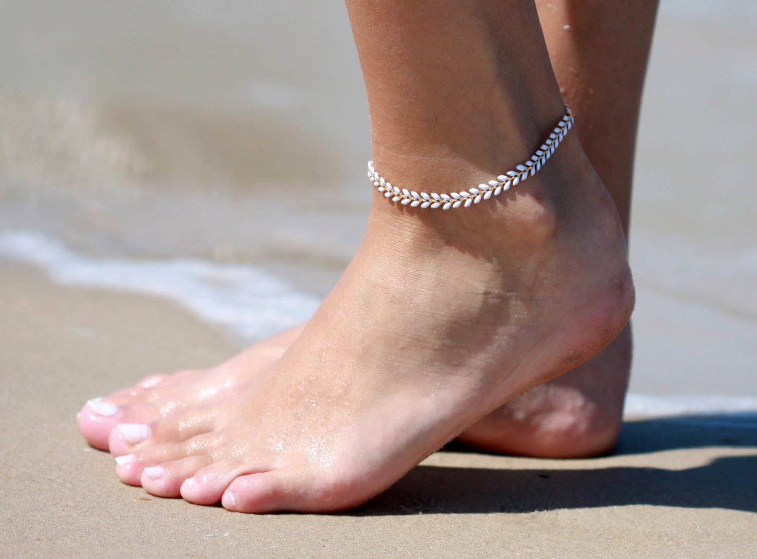 ankle bracelet white anklet white ankle bracelet arrow anklet foot 8594