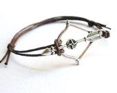 SALE -Epic Archery Bow bracelet anklet or choker -waxed cotton cord -Gift for him her or Best Friend -Unisex -Adventure Bracelet -8 colors