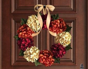 Hydrangea Wreath for Door | Fall Wreath | Front Door Wreaths | Outdoor Wreath | Wreath | New Home Housewarming Gift