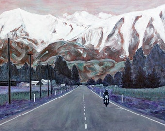 On the Road, motorbike painting on canvas, New Zealand Scenic Highway, road trip, biker, travel, 18 x 24 canvas, free shipping