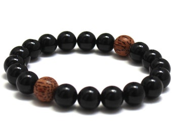 Mala Beads Beaded Bracelet Black Onyx Palm Wood Bead Mens Inspirational Jewelry, Groomsmen Gift for Buddhist Yoga Instructor Brother In Law