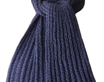 Hand Knit Scarf - Steel Blue Kitten Cashmere Silk Wind River Rib