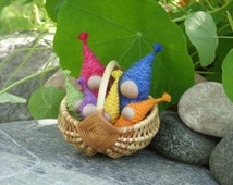 Waldorf Gnome Family of 6, Children Miniature Eco Toy, Christmas or Birthday Gift for Kids