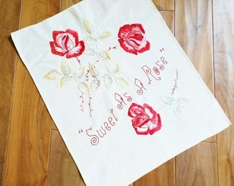 "Vintage Romantic Home Embroidered Celadon Green and Pomegranate Red ""Sweet As A Rose"" Table Scarf, Olives and Doves"