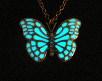 Butterfly Necklace, Glow In The Dark Butterfly Necklace, Glow In The Dark Necklace, Antique Bronze (glows aqua blue)