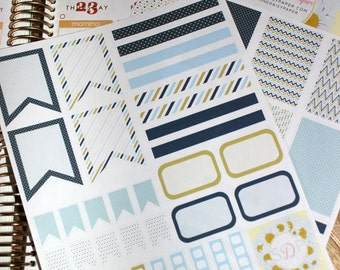 Blue and Gold Planner Kit! Set of 56 Planner Stickers