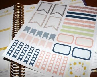 Floral & Plaid Planner Sticker set! Set of 36 Planner stickers (064)