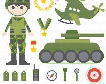 Soldier vector - Digital Clipart - Instant Download - EPS, PNG files included