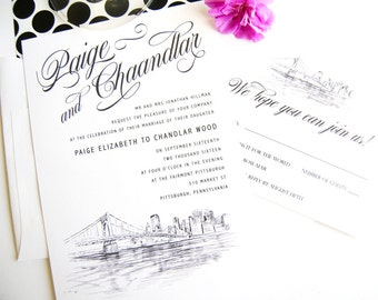 Pittsburgh Skyline Wedding Invitations Package (Sold in Sets of 10 Invitations, RSVP Cards + Envelopes)