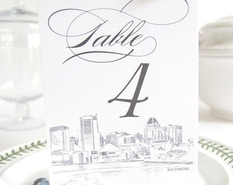 Baltimore Skyline Table Numbers (1-10)