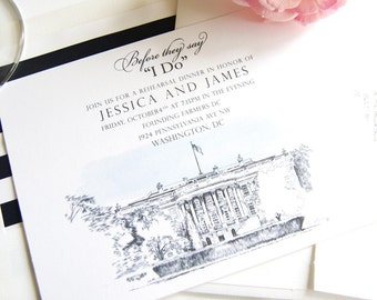 The White House, Washington DC Skyline Rehearsal Dinner Invitations (set of 25 cards)