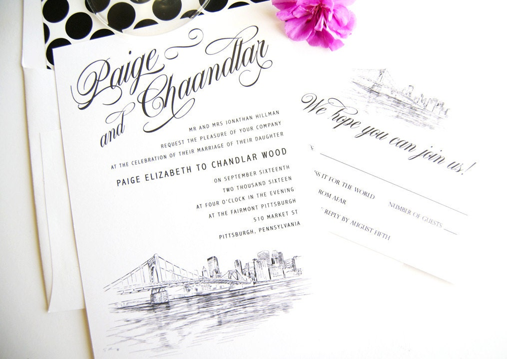 Pittsburgh Skyline Wedding Invitations Package Sold In Sets