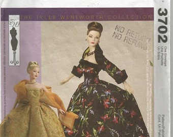 Mccall's Crafts Pattern Doll Clothes - TYLER WENTWORTH COLLECTION - 3702 -  Gown - Shrug - Shawl - Petticoat - Cut - c. 2002