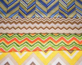 4 FQ Bundle – Colorful CHEVRON Geometric Prints 100% Cotton Quilt Craft Fabric Fat Quarters