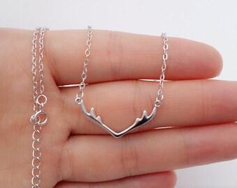 Sterling Silver Antler Necklace