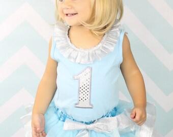 Frozen Elsa Inspired #1 1st Birthday Pettiskirt and tank set