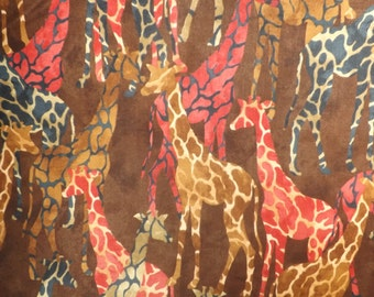 Paintbrush Studios Tribal Council Giraffe's Brown Quilters Cotton Fabric BTY
