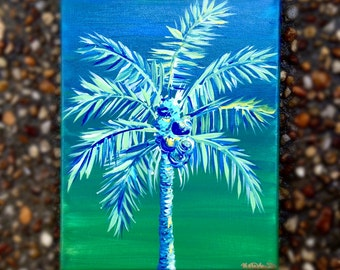 Blue and Green Palm Tree Sunset, abstract acrylic painting