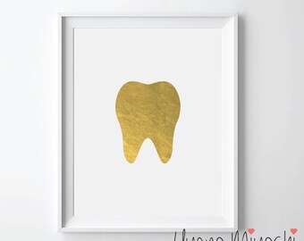 Human Tooth I Gold Foil Print, Gold Print, Dental Office Custom Print in Gold, Illustration Art Print,Golden Tooth Gold Foil Art Print