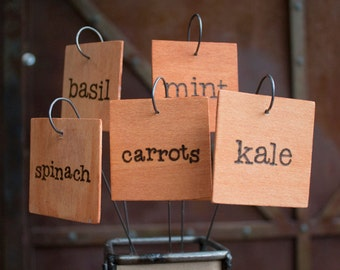Made to order hand stained and hand burned vegetable markers / herb markers / garden signs / plant tags