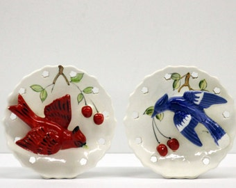 Two L & M 1958  Blue Jay and Cardinal Ceramic Wall Pockets