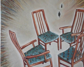 """Original large oil painting, by Nalan Laluk: """"Musical Chairs"""""""